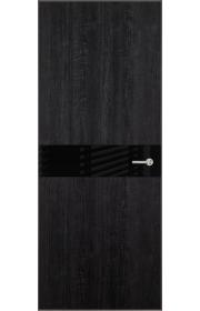 Двери Статус 702 Дуб черный стекло Лакобель черное