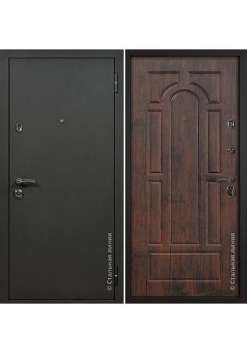 Двери Стальная линия Оптима Шелк черный - Тиковое дерево