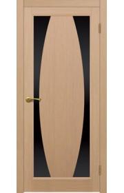 Двери Матадор Атик 3 Беленый дуб Стекло черное