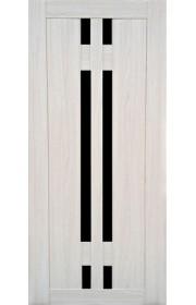 Дверь Профиль Дорс 40Х Эш Вайт мелинга Черное стекло