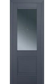 Двери Профиль Дорс 2U Антрацит Стекло Узор графит 1