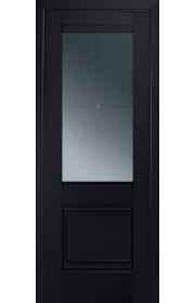 Двери Профиль Дорс 2U Черный матовый Стекло Узор графит 1
