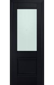 Двери Профиль Дорс 2U Черный матовый Стекло Узор матовый