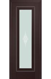 Двери Профиль Дорс 24U Темно-коричневый Стекло Кристалл Матовый Серебро