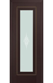 Двери Профиль Дорс 24U Темно-коричневый Стекло Кристалл Матовый Золото