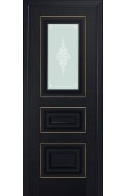 Двери Профиль Дорс 26U Черный матовый Стекло Кристалл Матовый Золото