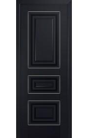 Двери Профиль Дорс 25U Черный матовый ДГ Серебро