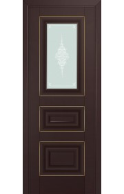 Двери Профиль Дорс 26U Темно-коричневый Стекло Кристалл Матовый Золото