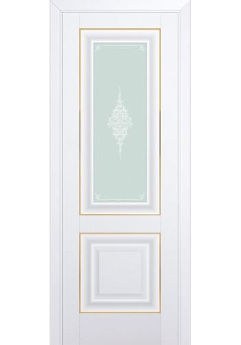 Двери Профиль Дорс 28U Аляска Стекло Кристалл Матовый Золото