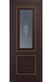 Двери Профиль Дорс 28U Темно-коричневый Стекло Кристалл Графит Золото