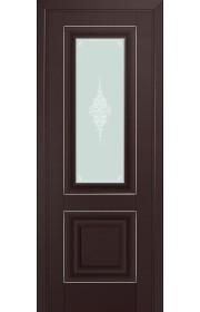 Двери Профиль Дорс 28U Темно-коричневый Стекло Кристалл Матовый Серебро