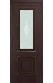 Двери Профиль Дорс 28U Темно-коричневый Стекло Кристалл Матовый Золото
