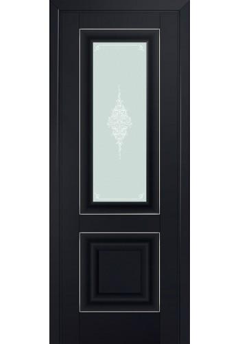 Двери Профиль Дорс 28U Черный матовый Стекло Кристалл Матовый Серебро