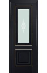 Двери Профиль Дорс 28U Черный матовый Стекло Кристалл Матовый Золото
