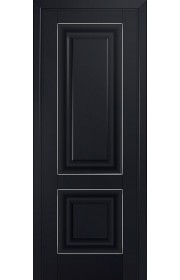 Двери Профиль Дорс 27U Черный матовый ДГ Серебро