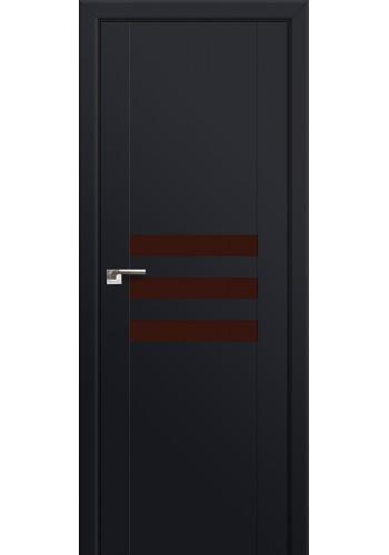 Двери Профиль Дорс 74U Черный матовый Стекло Коричневый лак
