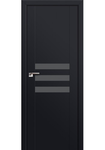 Двери Профиль Дорс 74U Черный матовый Стекло Серебряный лак