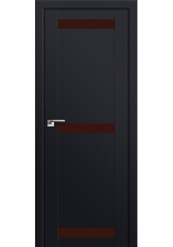 Двери Профиль Дорс 75U Черный матовый Стекло Коричневый лак