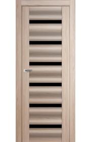 Дверь Профиль Дорс 57X Капучино Мелинга Стекло Черный Триплекс
