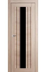 Дверь Профиль Дорс 53X Капучино Мелинга Стекло Черный Триплекс