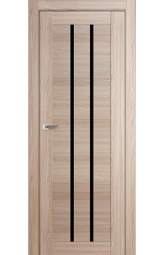 Дверь Профиль Дорс 49X Капучино Мелинга Стекло Черный Триплекс