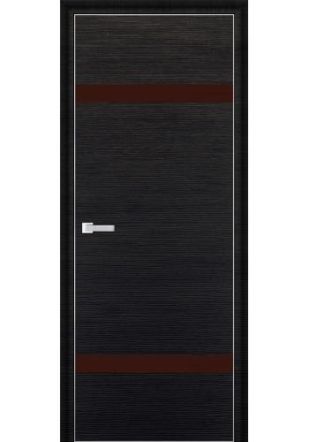 Дверь Профиль Дорс 3D Черный Браш Стекло Коричневый Лак