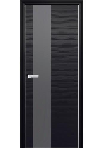 Дверь Профиль Дорс 5D Черная Волна Стекло Серебряный Лак