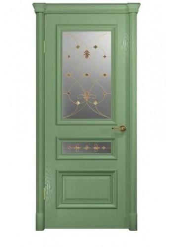 Двери Арт Деко Аттика 2-2 Фисташка Витраж Калипсо