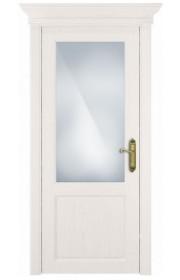 Двери Статус 521 Дуб белый стекло Сатинато белое матовое