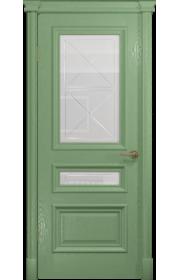 Двери Арт Деко Аттика 2-2 Фисташка Стекло Гравировка