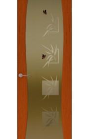 Двери Океан Буревестник-2 Бабочки Красное дерево Стекло тонированное
