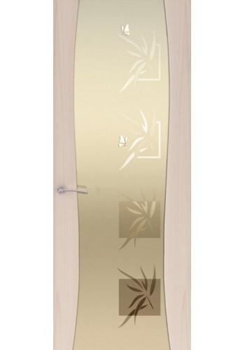 Двери Океан Буревестник-2 Бабочки Ясень капучино Стекло белое