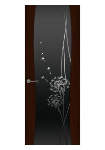 Двери Океан Буревестник-2 Одуванчик Ясень винтаж Стекло черное