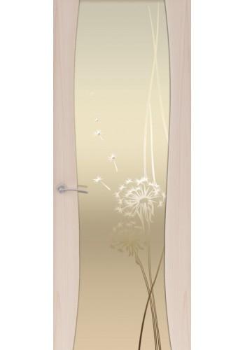 Двери Океан Буревестник-2 Одуванчик Ясень капучино Стекло белое