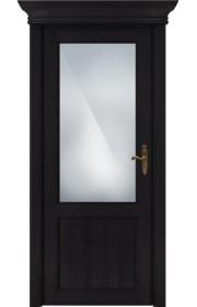 Двери Статус 521 Дуб черный стекло Сатинато белое матовое