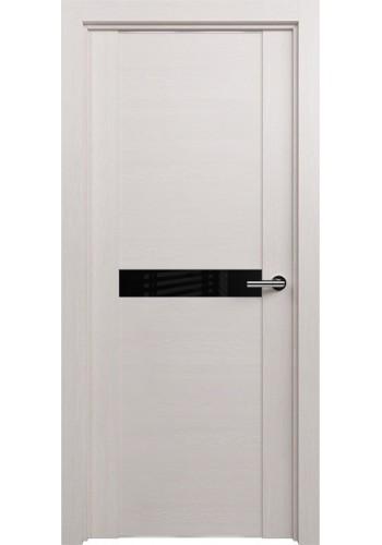 Двери Статус 411 Дуб белый стекло Лакобель черное