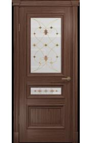 Двери Арт Деко Аттика 2-2 Американский орех Витраж Калипсо