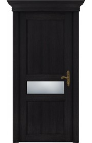 Двери Статус 534 Дуб черный стекло Сатинато белое матовое