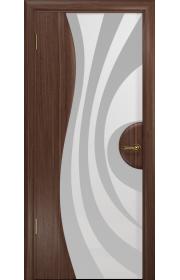 Двери Арт Деко Ветра 1 Американский орех Стекло белое