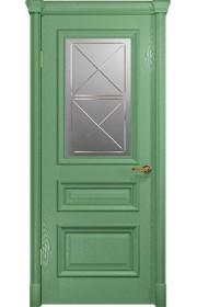 Двери Арт Деко Аттика 2-1 Фисташка Стекло Гравировка
