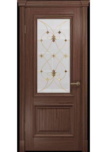 Двери Арт Деко Аттика-1 Американский орех витраж Калипсо