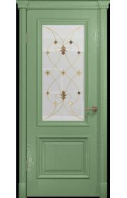 Двери Арт Деко Аттика-1 Фисташка витраж Калипсо